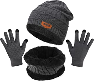 TAGVO Winterbeanie muts sjaal set, fleece binnenvoering, warme stretchy gebreide beanie cap elastische halswarmer - precie...