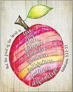 Fruit of the Spirit Galatians 5:22-23 Apple Design Colorful 14 x 11 Wood Wall Art Sign Plaque