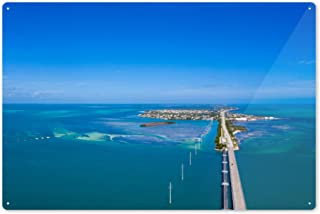 Lantern Press Key West, Florida - Aerial View of Key West and 7 Mile Bridge - Photography A-93345 93345 (6x9 Aluminum Wall Sign, Wall Decor Ready to Hang)