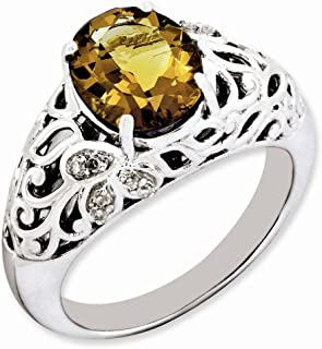 925 Sterling Silver Oval Whiskey Quartz Diamond Band Ring Size 7.00 Gemstone Fine Jewelry Gifts For Women For Her
