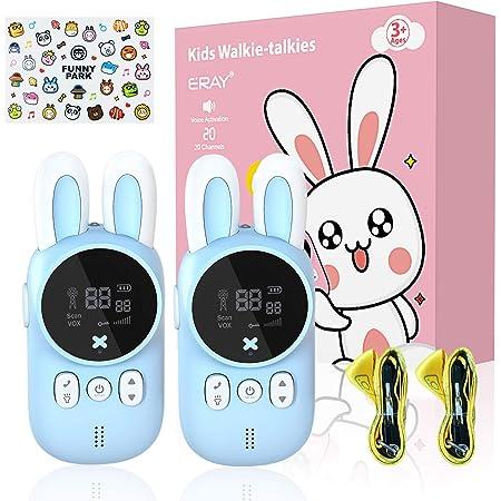 ERAY Walkie Talkie para Niños, Radio Bidireccional/ 20 Canales/ 3KM de Largo Alcance/ Función VOX/ Linterna/ LCD Retroiluminada, un Buen Juguete para Niños de 3-12 Años, Color Azul (2 PCS)
