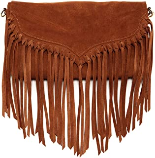The Lillian Suede Leather Fringe Crossbody Bag Suede Handbags