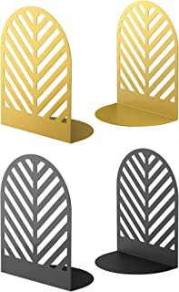QiMing Leaf Bookends for Heavy Books,2 Pair Metal Book Holders for Office Shelves Adults & Kids Gift(Gold+Black)