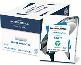 $55 » Hammermill 86700 Great White Recycled Copy Paper, 92 Brightness, 20lb, 8-1/2 x 11, 5000 Shts/Ctn