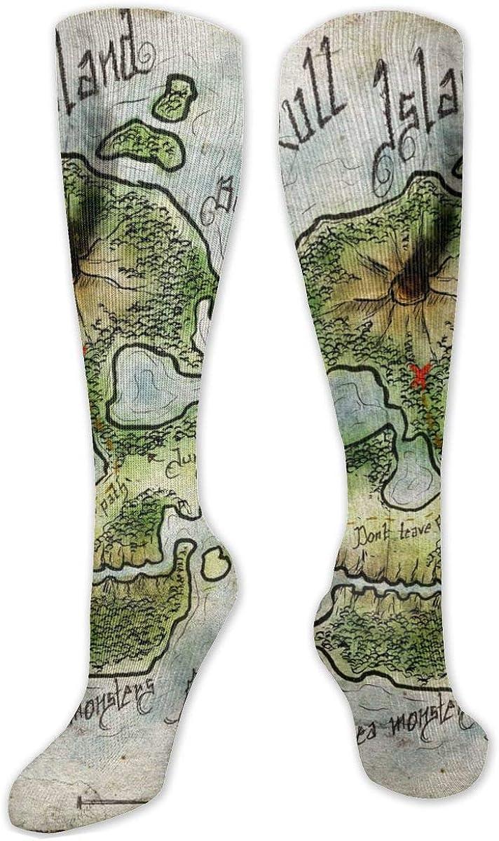 Retro Skull Island Knee High Socks Leg Warmer Dresses Long Boot Stockings For Womens Cosplay Daily Wear