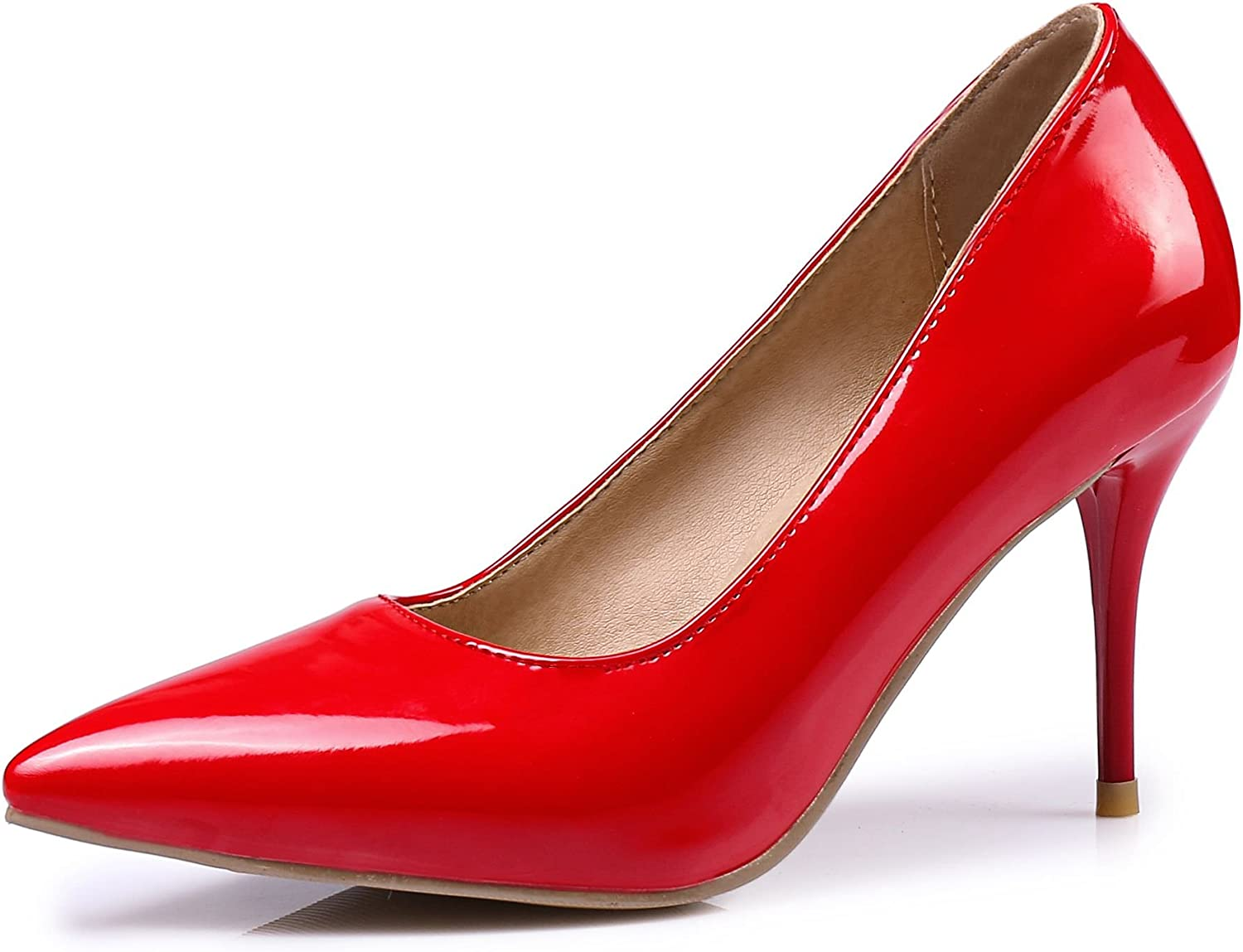 KingRover Women's Classic Fashion Pointed Closed Toe Stiletto Work Office Dress Pumps,7.5 B(M) US,Red