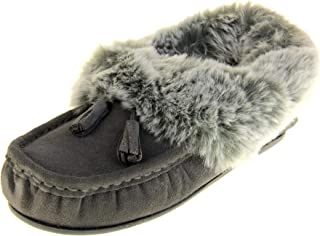 Womens Maddison Faux Fur Suede Slippers