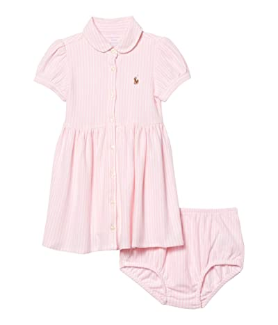 Polo Ralph Lauren Kids Striped Knit Oxford Dress (Infant) (Carmel Pink/White) Girl