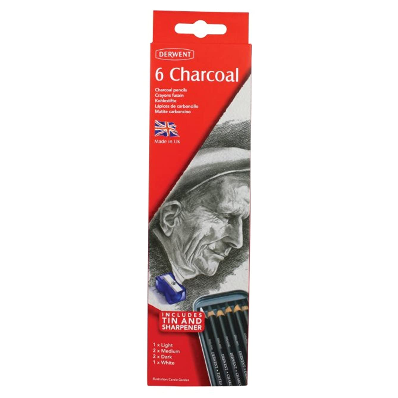 Derwent Charcoal Pencils, Metal Tin, 6 Count (0700838)