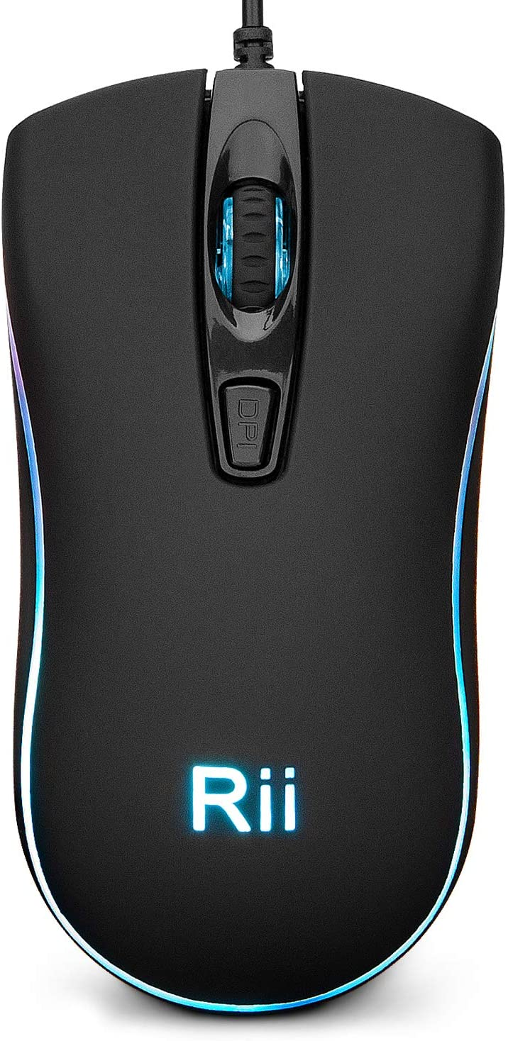 Rii RM105 Wired Mouse,Computer Mouse with Colorful RGB Backlit,2400 DPI Levels,Comfortable Grip Ergonomic Optical ,USB Wired Mice Support Windows PC, Laptop,Desktop,Notebook,Chromebook (1 Pack)