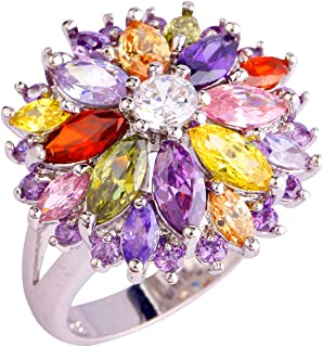 925 Sterling Silver Plated Created Flower Citrine&Garnet Multi-Stone Party Club Fashion Ring