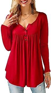 c307503fa754d KISSMODA Chemises pour Femmes boutonnées à Manches Longues et Tuniques pour  Femme