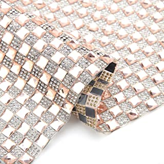 1010mm Glass Rhinestone Trim Crystal Beaded Applique Hotfix Iron On Strass Mesh Banding in Roll DIY Rhinestone Stickers Sheet Gift Phone Decoration (Tawney)