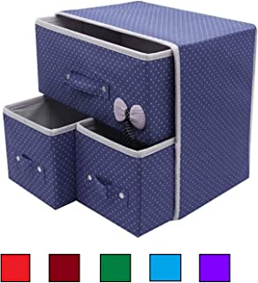 SKYFUN (LABEL) Fabric Nonwoven Foldable Collapsible Organizer with 2 Layer and 3 Drawer, Multicolour, 30 x 29 x 22 cm