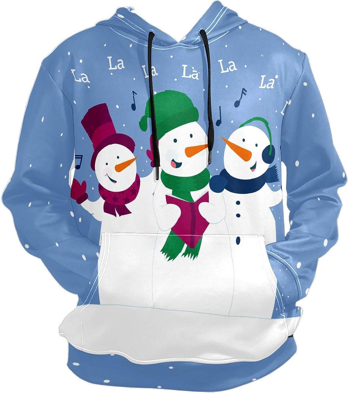 Men's Sport Hoodie Winter Snowman Singing Song Big and Tall Hoodies for Men Women Oversized Hooded Sweatshirt Hip Hop Pullover Hoodie Midweight Hood for Boys Girls