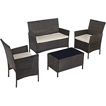 SONGMICS Set of 4 Polyrattan Garden Furniture, Patio Furniture Set with 2 Chairs, 1 Sofa, 1 Coffee Table with Tempered Glass Top, 3 Removable Covers, Brown and Beige UGGF002BR1