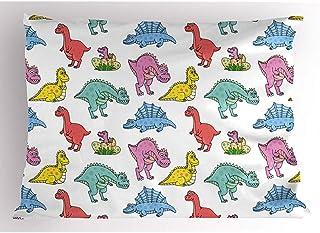 4Pcs 18X18 Inch Funda De Almohada De Dinosaurio,Divertidos Personajes De Dibujos Animados Coloridos Dinos Dientes Afilados Extintos Animales Prehistóricos,Del Hogar Funda De Almohada Impresa De