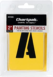 Chartpak Painting Stencil Numbers/Letters, 2-Inch, Yellow (CHA01555)