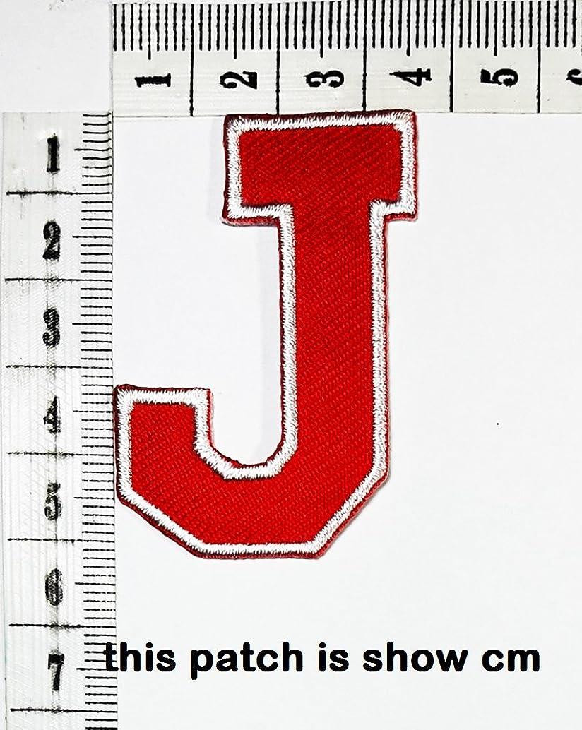 Red letter J patch logo Sew On Patch Clothes Bag T-Shirt Jeans Biker Badge Applique