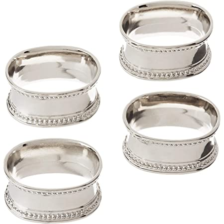Amazon Com Elegance Beaded Oval Napkin Rings Set Of 4 Home Kitchen