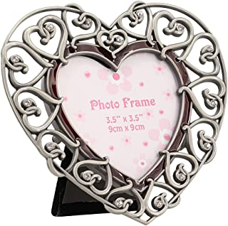 Multifit Modern Metal Antique Pewter Desktop Photo Frames Baroque style Antiquated Frame(Heart)