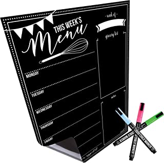 """$21 » Magnetic Dry Erase Menu Board for Fridge: with Bright Neon Chalk Markers - 16x12"""" - Weekly Meal Planner Blackboard and Grocery List Notepad for Kitchen Refrigerator - Whiteboard Chalkboard Magnet"""