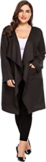 IN'VOLAND Womens Plus Size Cut Hem Waterfall Collar Long Sleeve Wrap Trench Coat Cardigan