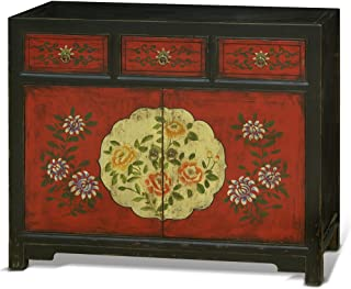 ChinaFurnitureOnline Hand Made and Painted Tibetan Style 2-Door Floral Cabinet