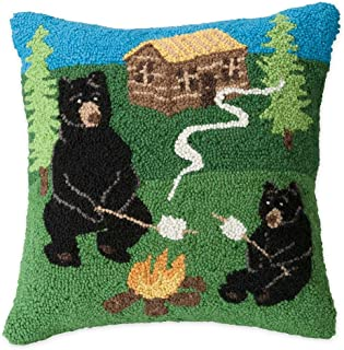 Plow & Hearth Hand-Hooked Wool Camping Bears Throw Pillow - 15.5 L x 15.5 W x 6 H