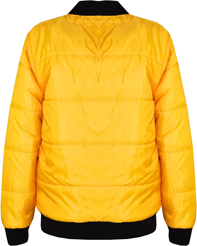 Boys Girls Jackets Kids Navy Bomber Padded Quilted Zip Up Biker Jacket MA1 Coats
