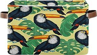 PUXUQU Panier de rangement pliable avec poignées et feuilles de palmier tropicales, oiseau, toucan, panier de rangement po...