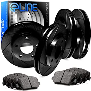 For Toyota FJ Cruiser R1 Concepts eLine Front Rear Black Slotted Brake Rotors Kit + Semi-Met Brake Pads