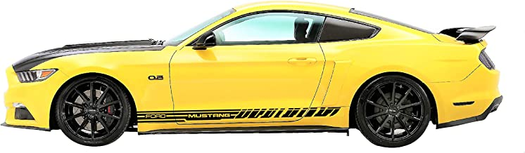 Evilrpm Pair Side Vinyl Racing Stripe Door Decal Stickers Kit for Ford Mustang (Gloss Black)