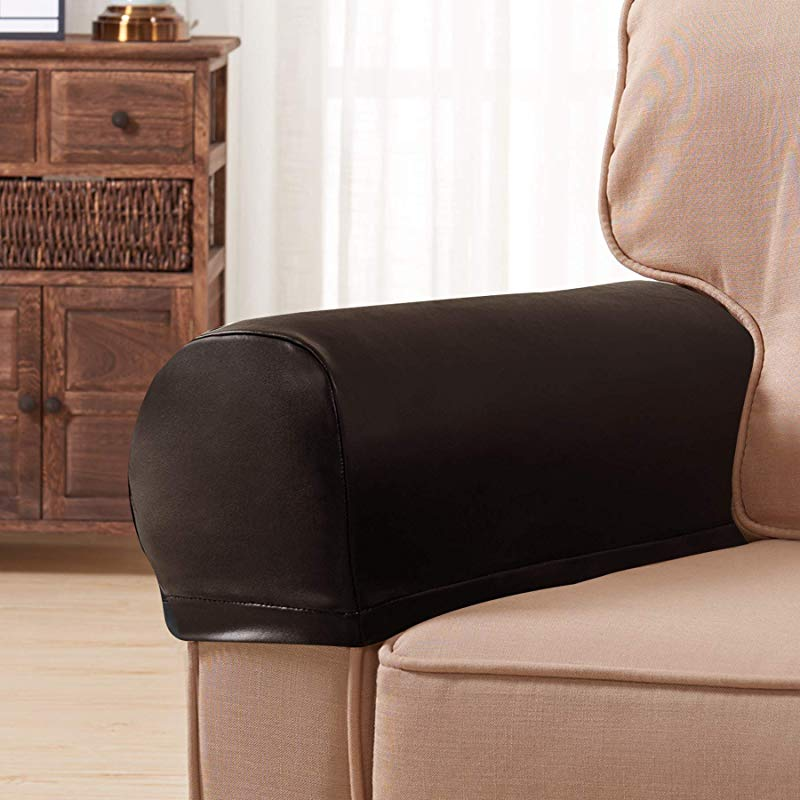 Subrtex Spandex Stretch PU Faux Waterproof Armrest Covers Set Of 2 Brown Leather