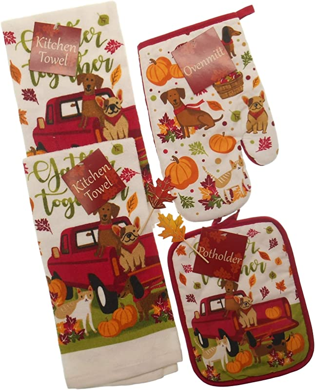 Gather Together Fall Kitchen Towels Set Featuring Red Pick Up With Dogs And Cat 2 Towels Pot Holder And Mitt With 2 Fall Leaf Picks Bundle Of 6