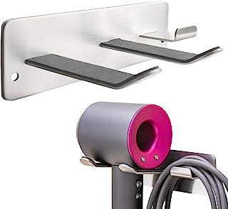 ヘアドライヤーホルダー、全てのヘアドライヤーに対応する壁掛けラック、バスルーム/ベッドルーム/洗面所/理髪店用スペースオーガナイザー、304ステンレススチール、シルバー