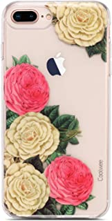 Coolwee Rose Floral Clear iPhone 8 Plus Case, iPhone 7 Plus Flower Women Girls Cute Slim Thin with Soft TPU Bumper for Apple iPhone 6 Plus (5.5 inch)-(Fleur Series) 3D Floral White