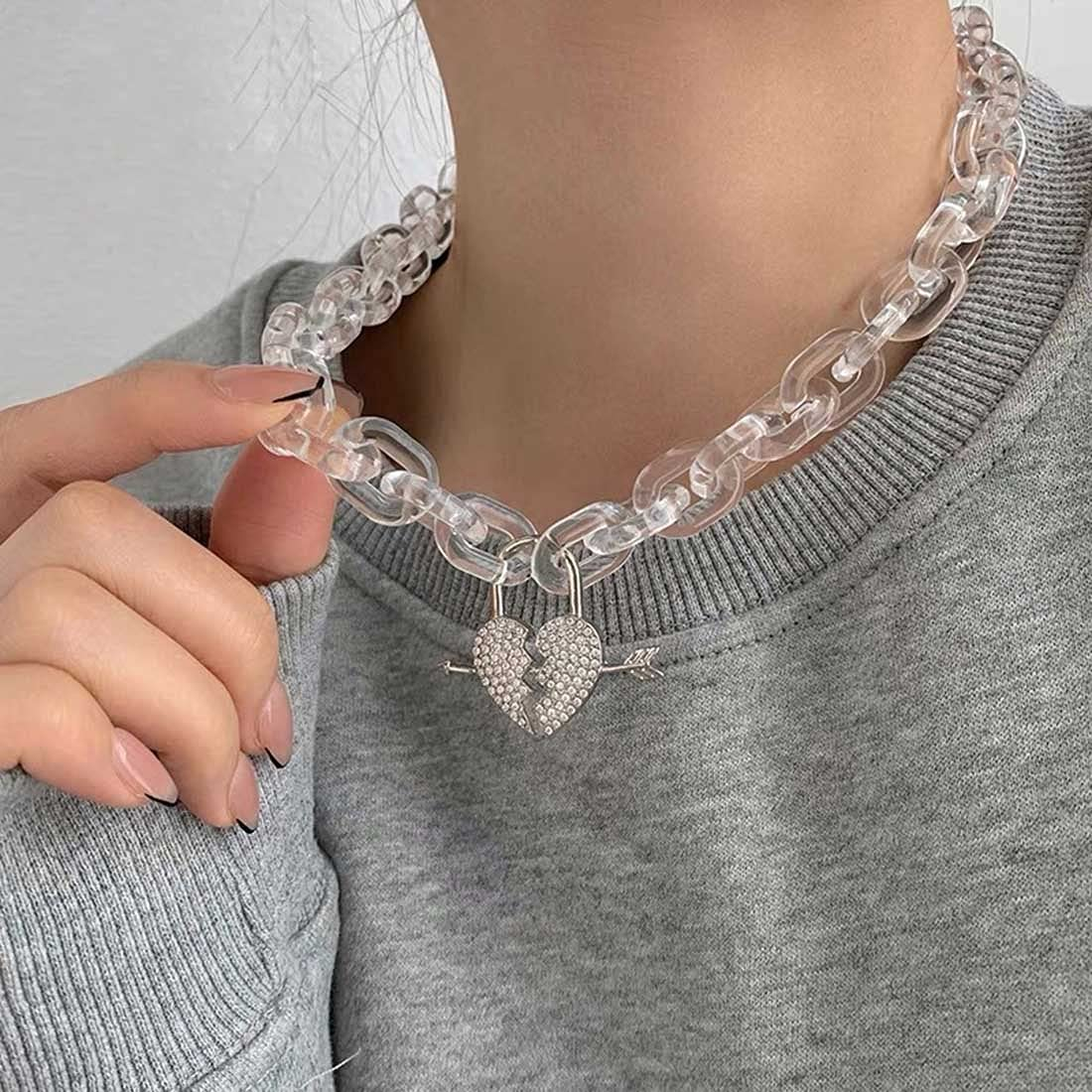 Grestal Punk Acrylic Statement Choker Necklace Chunky Love Heart Necklaces Large Choker Collar Delicate Jewelry Adjustable for Women