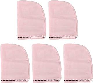 HERCHR Toalla para el Pelo de 5 Piezas para Mujer, Sombrero para secar el Pelo con Turbante, Toalla Absorbente, Suministros de baño para Viajar a casa(Rosado)