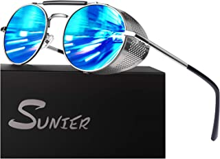 Sunier Retro Round Steampunk Sunglasses Side Shield Goggles Gothic Sun Glasses