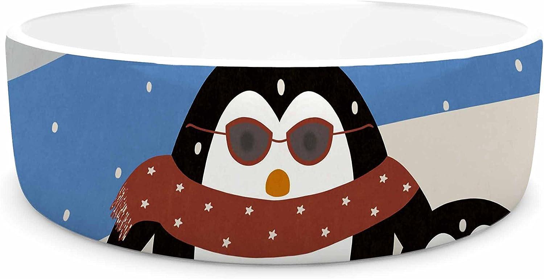 KESS InHouse Cristina Bianco Design Cute Penguins  Black Illustration Pet Bowl, 7
