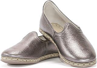 VellaPais Estetik Ve Zarif Bakır Bayan Topuksuz Düz Ayakkabı Hakiki Deri Yemeni