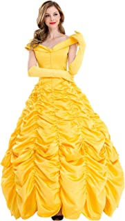 Belle Costume Dress Halloween Princess Cosplay Party Show Dresses for Women Girls