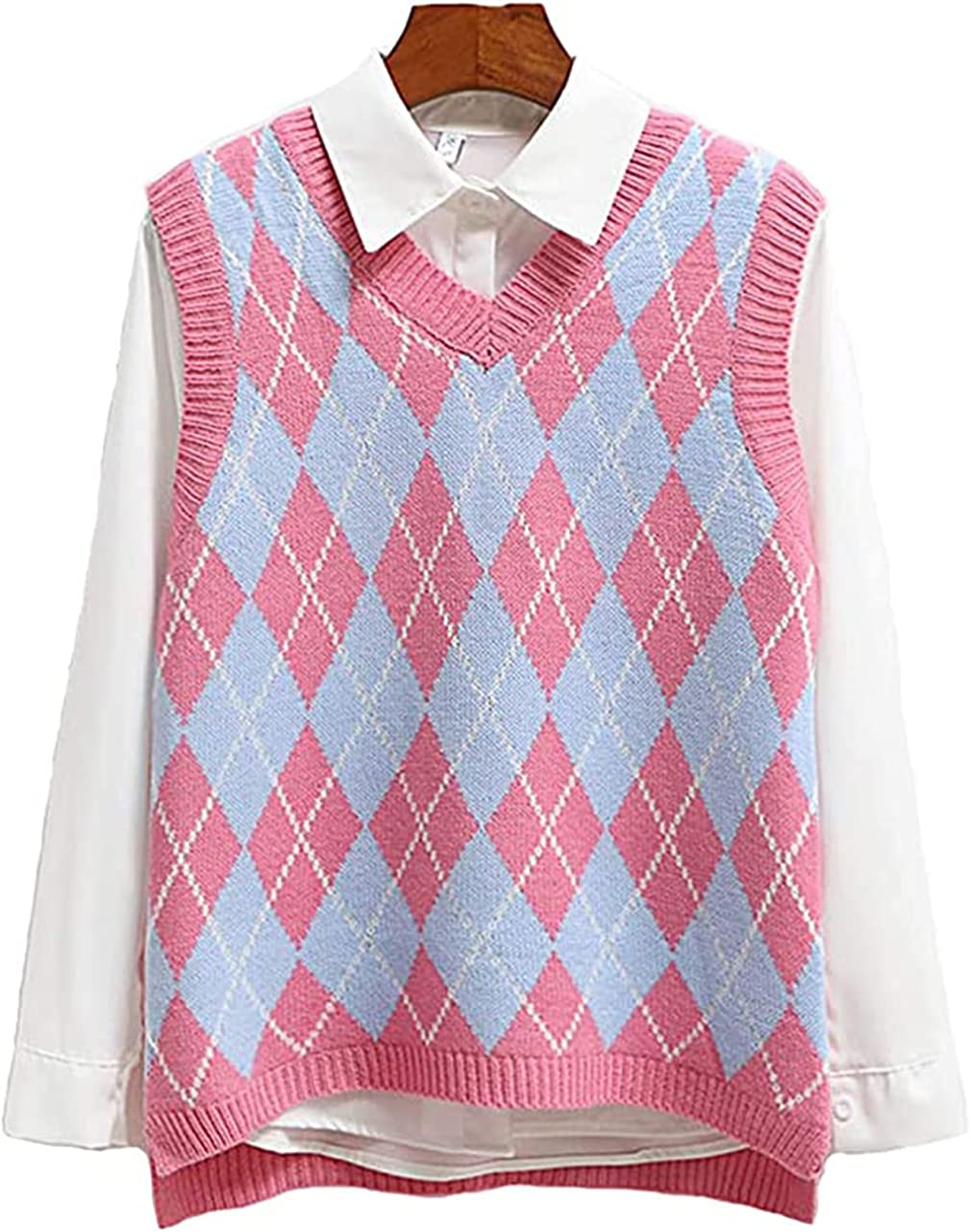 SLLSKY Argyle Fashion Knitted Vest Women Casual Korean Pullover Elasticity Sweater Spring Autumn Sleeveless V-Neck Tank Tops