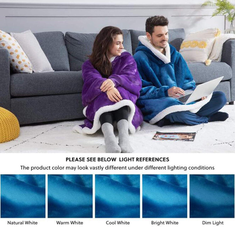 Sweat-Shirt Surdimensionné, Sweat À Capuche Super Doux Et Confortable avec Poches Et Manches Profondes pour Les Femmes Et Les Hommes Taille Unique,Rose Peacock Blue