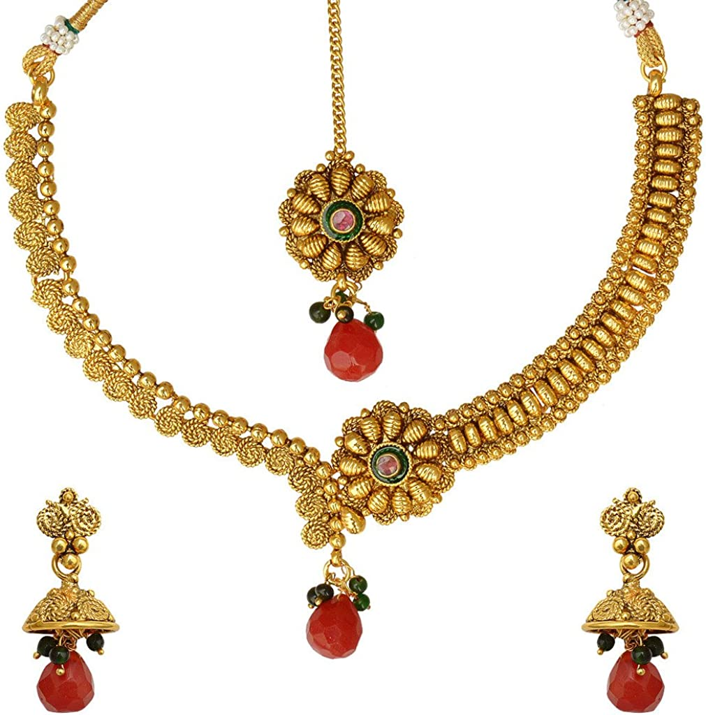 ADIVA South Indian Temple Kundan Set Necklace Indian Jewelry Set for Women