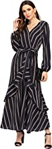 Milumia Women's Self Tie Bishop Sleeve Ruffle Belted Striped Waist Maxi Dress
