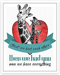 First we had Each Other Then we had You, Now we Have Everything! Giraffe Art, New Baby Gift, Baby Shower Gift, Nursery Art...