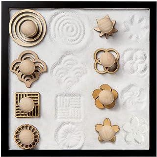 COCORO Mini Sand Stamps for Mini Zen Garden Patterns Includes Swirl, Ocean Waves, Parallel Crosses, Rings, Chrysanthemum, ...