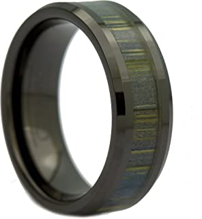 MJ Metals Jewelry 8mm Black Ceramic Ring, Inlay Made from Zebra Wood. Wedding Band Ring